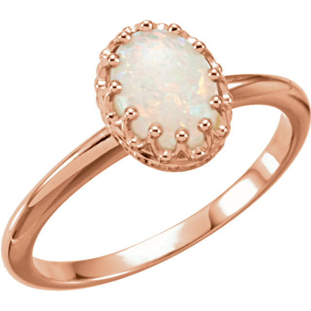 Great Deal in 14 Karat Rose Gold Opal Crown Ring