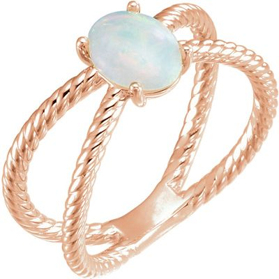 Beautiful 14 Karat Rose Gold 8x6mm Oval Cabochon Rope Ring Mounting