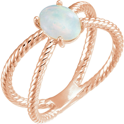 Fine 14 KT Rose Gold 8x6mm Oval Cabochon Rope Ring Mounting