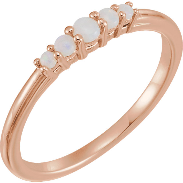 Beautiful 14 Karat Rose Gold Opal Graduated Five-Stone Ring