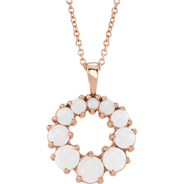 Quality 14 KT Rose Gold Opal Halo-Style 18