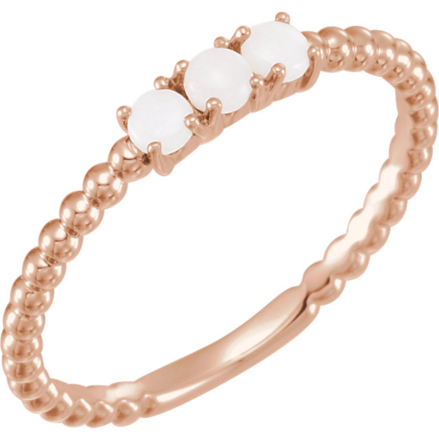 Chic 14 Karat Rose Gold Opal Stackable Beaded Ring