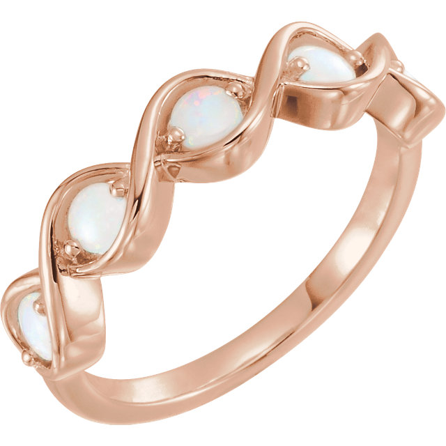 Fine Quality 14 Karat Rose Gold Opal Stackable Ring