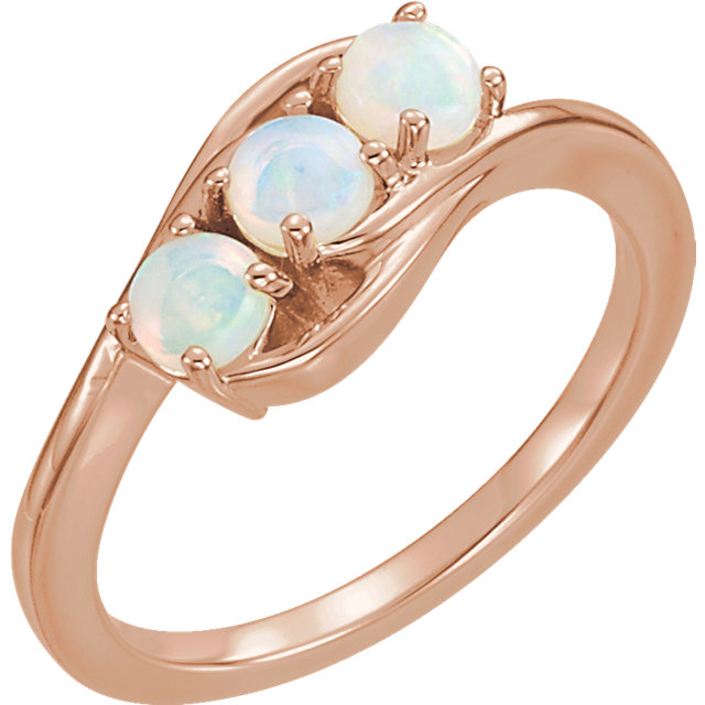 Deal on 14 KT Rose Gold Opal Three-Stone Ring
