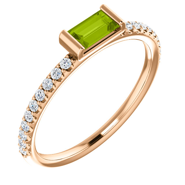 Magnificent 14 Karat Rose Gold Straight Baguette Genuine Peridot & 1/6 Carat Total Weight Diamond Stackable Ring