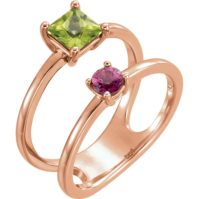 Gorgeous 14 Karat Rose Gold Square Genuine Peridot & Square Genuine Pink Tourmaline Two-Stone Ring
