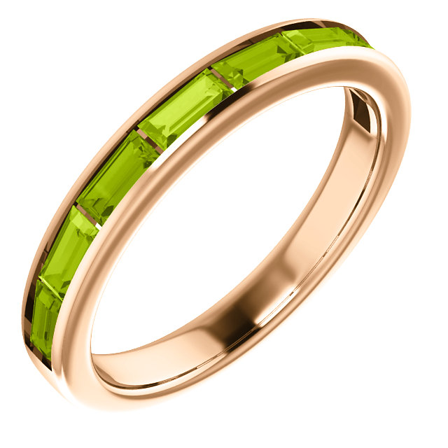 Remarkable 14 Karat Rose Gold Straight Baguette Genuine Peridot Ring