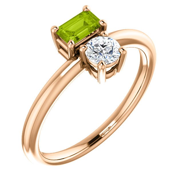 Surprise Her with  14 Karat Rose Gold Peridot & Sapphire Two-Stone Ring
