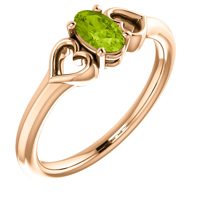 Lovely 14 Karat Rose Gold Oval Genuine Peridot Youth Heart Ring