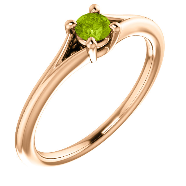Alluring 14 Karat Rose Gold Round Genuine Peridot Youth Ring