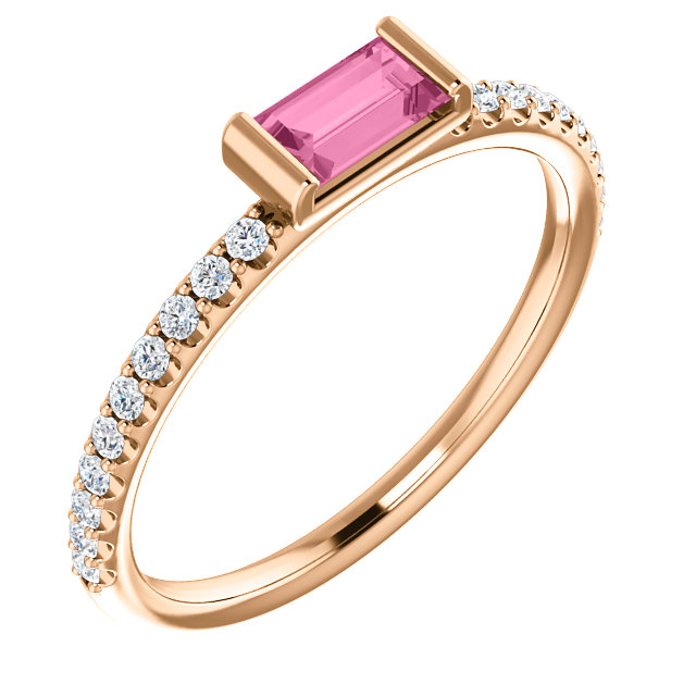 Stunning 14 Karat Rose Gold Pink Sapphire & 0.17 Carat Total Weight Diamond Stackable Ring