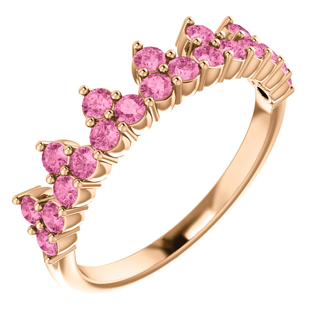 Genuine 14 Karat Rose Gold Pink Sapphire Crown Ring