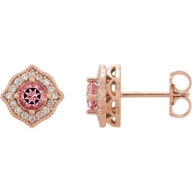 Quality 14 KT Rose Gold Pink Topaz and 0.125 Carat TW Diamond Earrings
