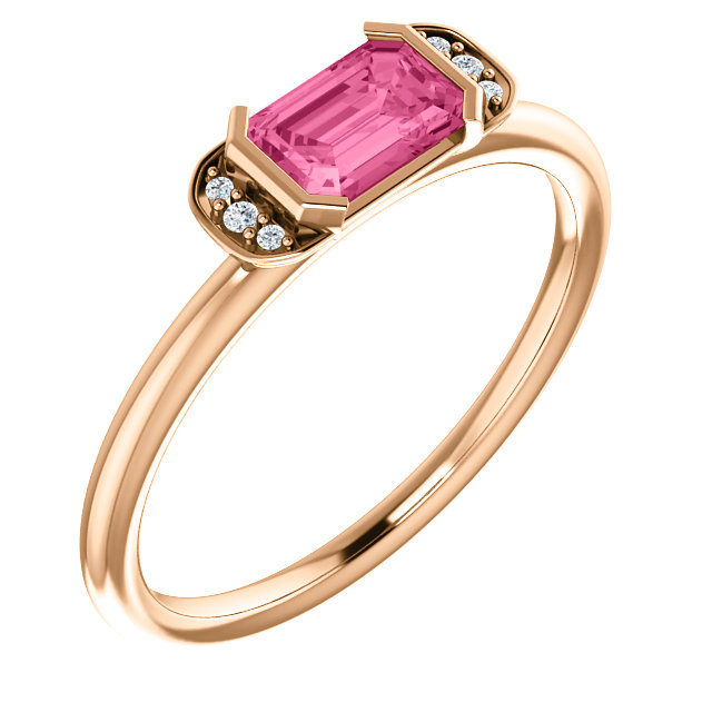 Great Gift in 14 Karat Rose Gold  Pink Tourmaline & .02 Carat Total Weight Diamond Stackable Ring
