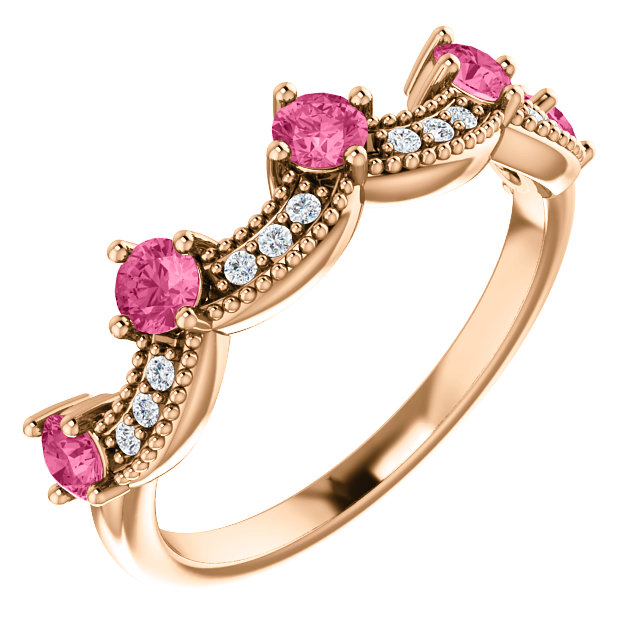 Contemporary 14 Karat Rose Gold Pink Tourmaline & .06 Carat Total Weight Diamond Crown Ring