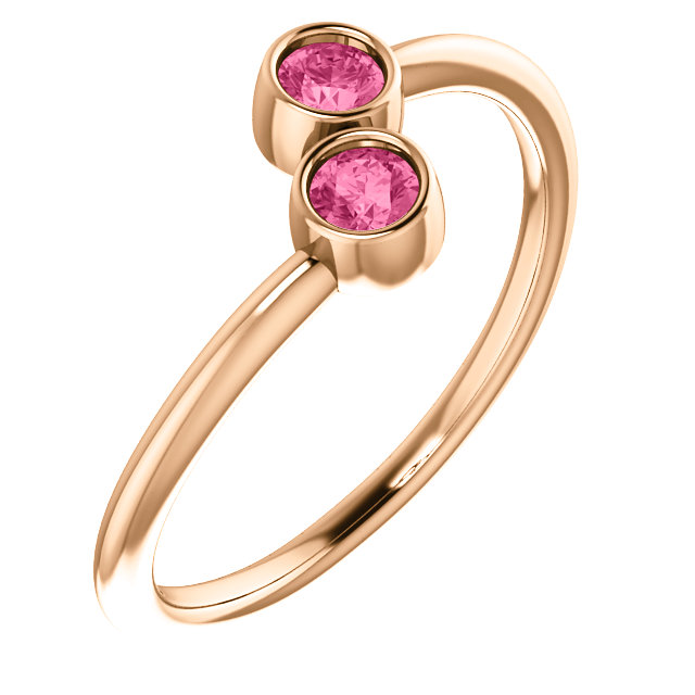 Fine Quality 14 Karat Rose Gold Pink Tourmaline Two-Stone Ring