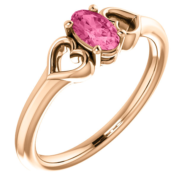 Genuine 14 KT Rose Gold Pink Tourmaline Youth Heart Ring