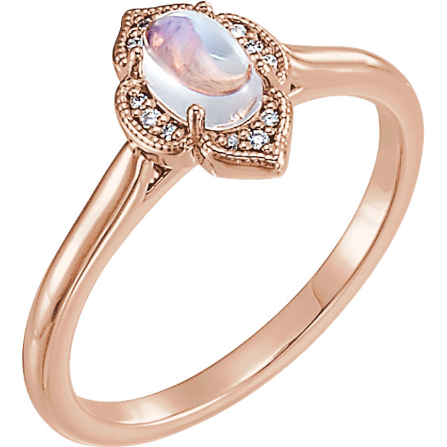 Great Deal in 14 Karat Rose Gold Rainbow Moonstone & .03 Carat Total Weight Diamond Clover Cabochon Ring
