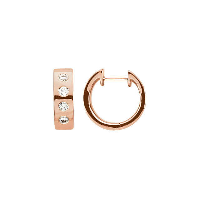 Low Price on 14 KT Rose Gold & Rhodium Plated 0.33 Carat TW Diamond Earrings