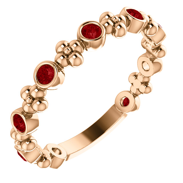 14 Karat Rose Gold Ruby Beaded Ring