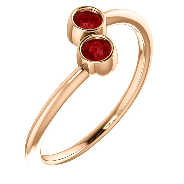 Genuine 14 Karat Rose Gold Ruby Two-Stone Ring