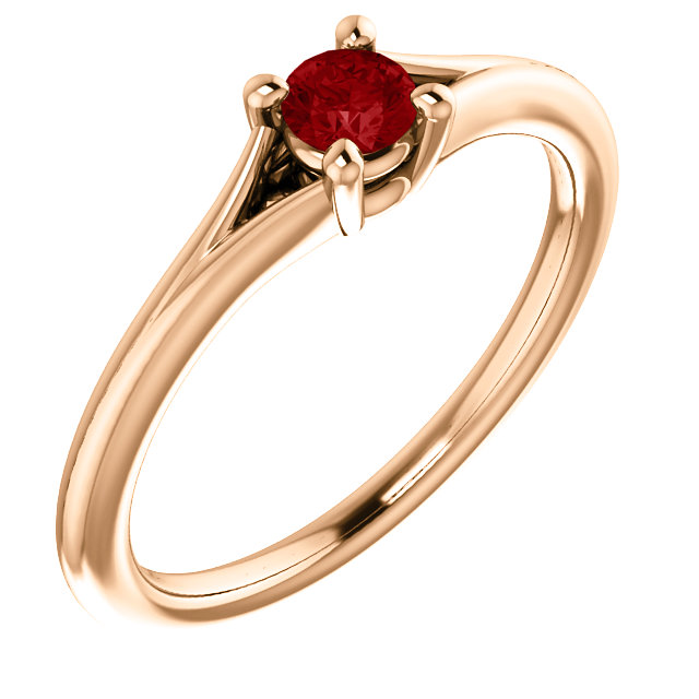 Beautiful 14 Karat Rose Gold Ruby Youth Ring