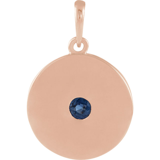 Great Gift in 14 Karat Rose Gold Sapphire Disc Pendant