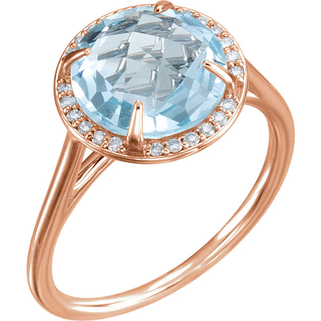 Fine Quality 14 Karat Rose Gold Sky Blue Topaz & 0.12 Carat Total Weight Diamond Ring