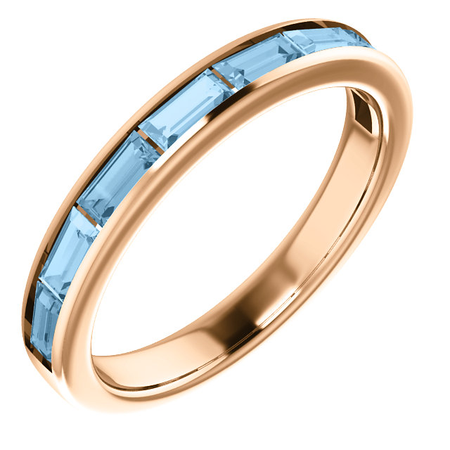 Magnificent 14 Karat Rose Gold Straight Baguette Genuine Sky Blue Topaz Ring