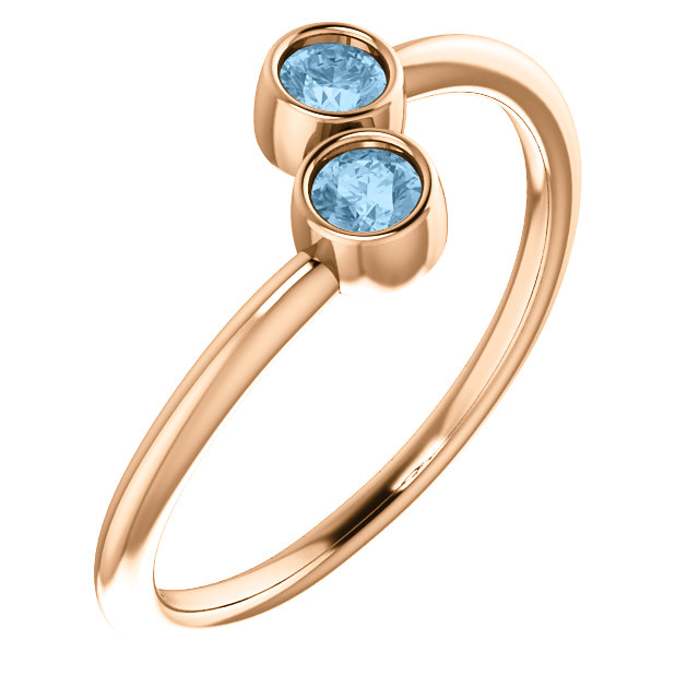 Best 14 Karat Rose Gold Round Genuine Sky Blue Topaz Two-Stone Ring