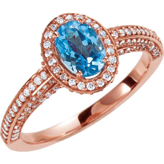 Must See 14 KT Rose Gold Swiss Blue Topaz & 0.60 Carat TW Diamond Halo-Style Engagement Ring