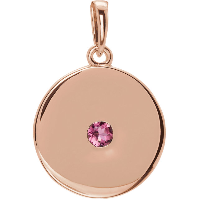 Perfect Gift Idea in 14 Karat Rose Gold Tourmaline Disc Pendant