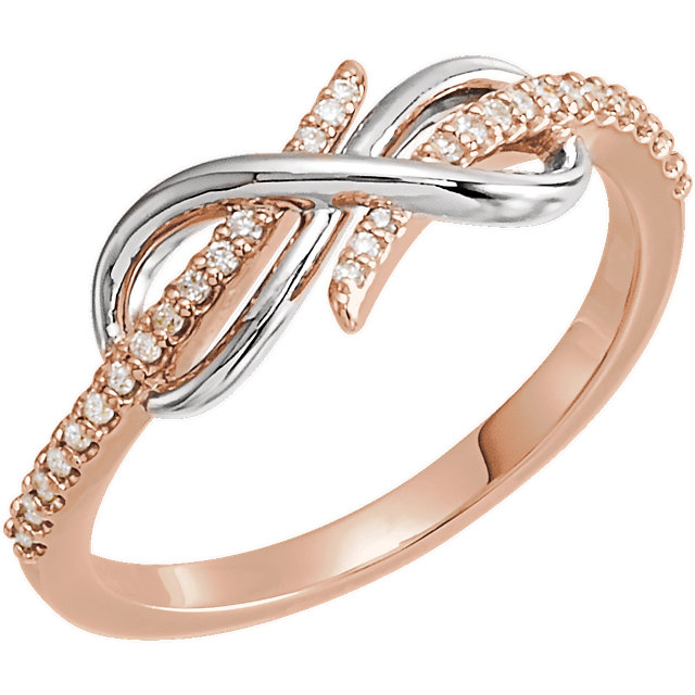 Fine Quality 14 Karat Rose Gold & White 0.12 Carat Total Weight Diamond Infinity-Inspired Ring