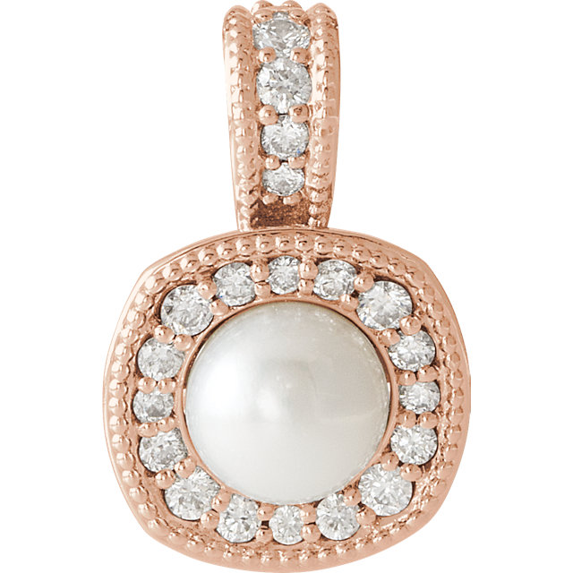 Contemporary 14 Karat Rose Gold White Freshwater Cultured Pearl & 0.25 Carat Total Weight Diamond Pendant