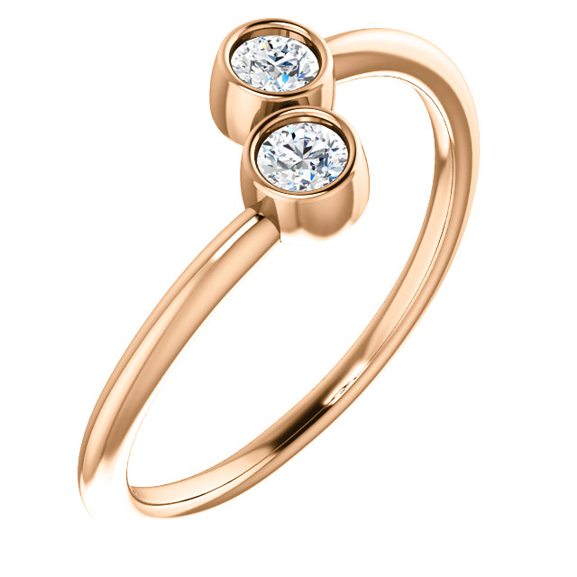 Genuine Sapphire Ring in 14 Karat Rose Gold White SapphireTwo-Stone Ring