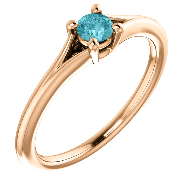 14 Karat Rose Gold Zircon Youth Ring
