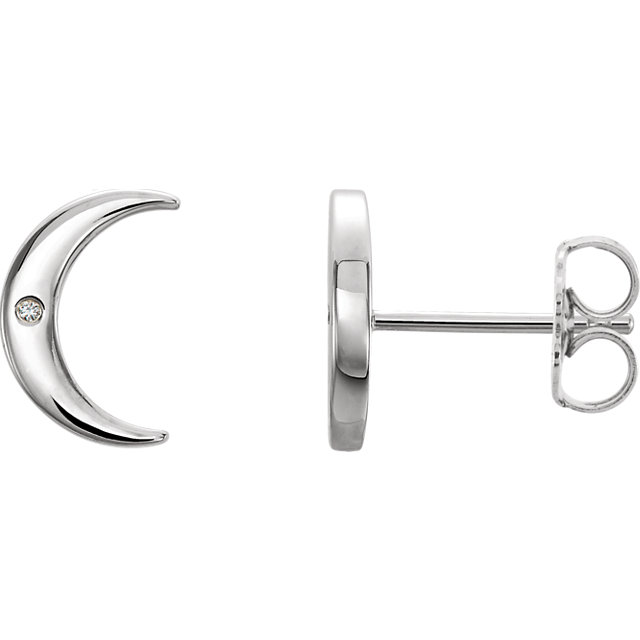 Contemporary 14 Karat White Gold .005 Carat Total Weight Diamond Crescent Earrings
