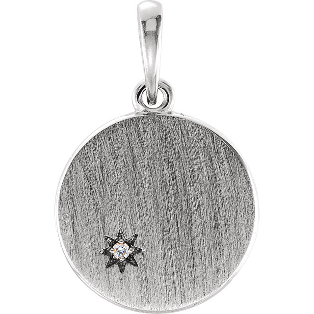 Fantastic 14 Karat White Gold .005 Carat Total Weight Round Genuine Diamond Engravable Pendant