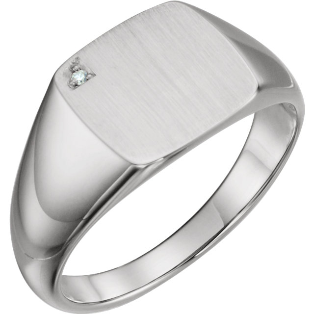 14 Karat White Gold .0075 Carat Diamond Men's Signet Ring