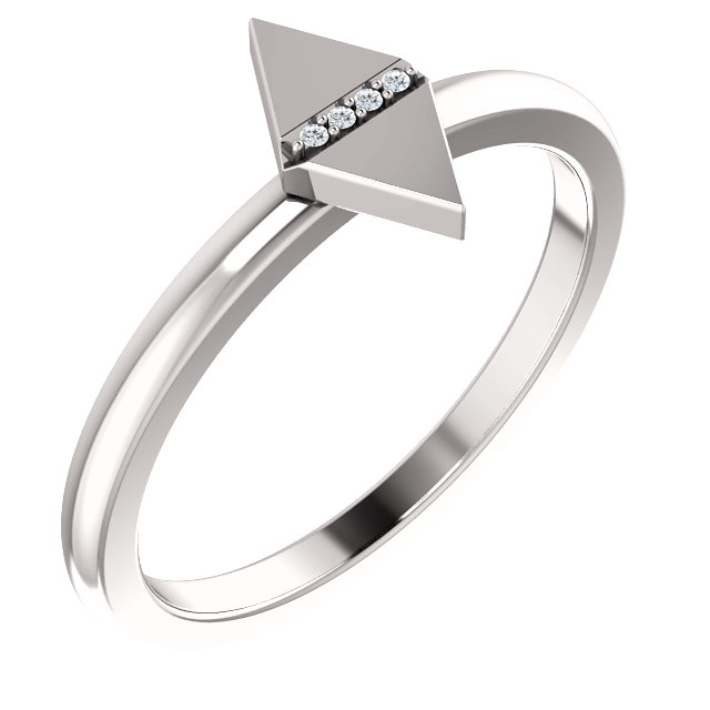 Great Buy in 14 KT White Gold .01 Carat TW Diamond Geometric Ring