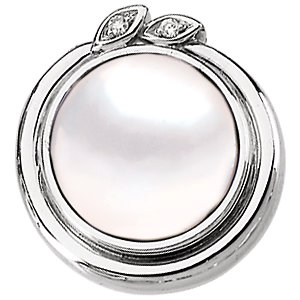 14 Karat White Gold .02 Carat Total Weight Diamond & 12mm Mabe Pearl Pendant