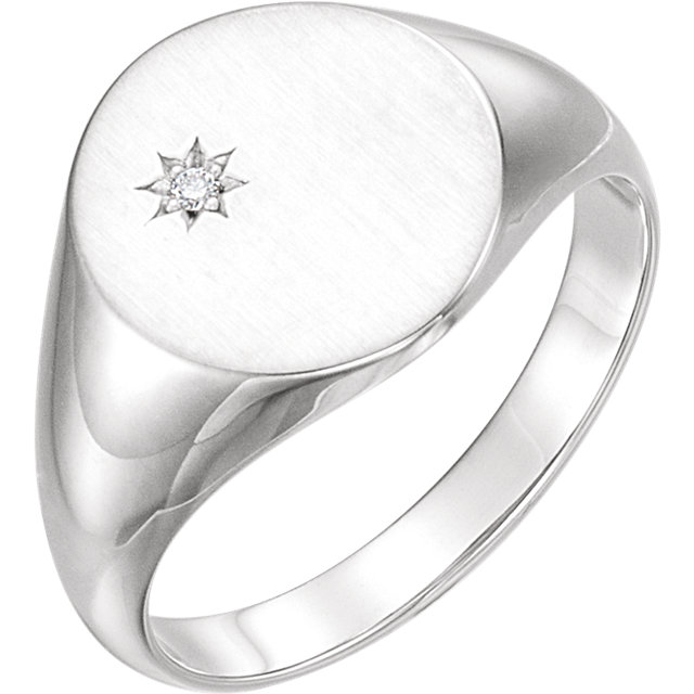 14 KT White Gold .02 Carat TW Diamond Signet Ring