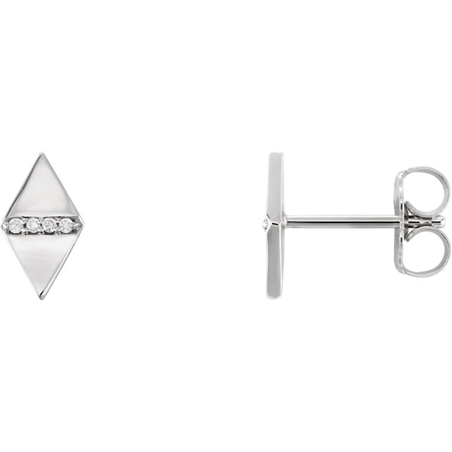 Perfect Jewelry Gift 14 Karat White Gold .025 Carat Total Weight Diamond Geometric Earrings