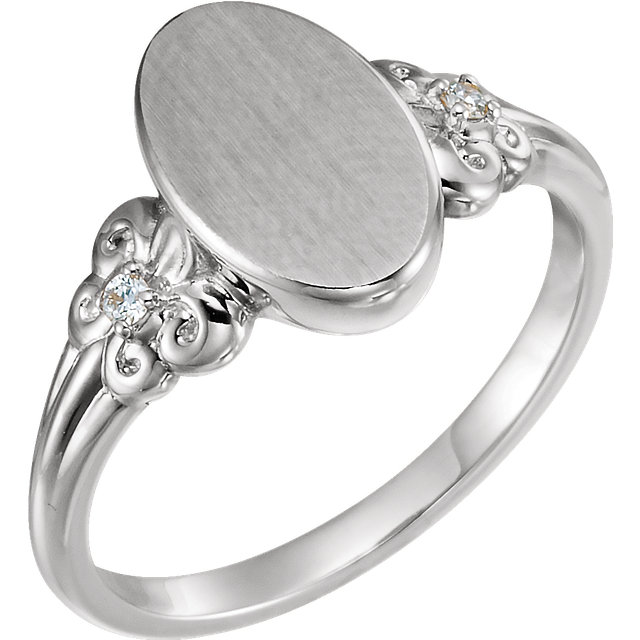 Shop 14 KT White Gold .03 Carat TW Diamond Fleur-de-lis Oval Signet Ring