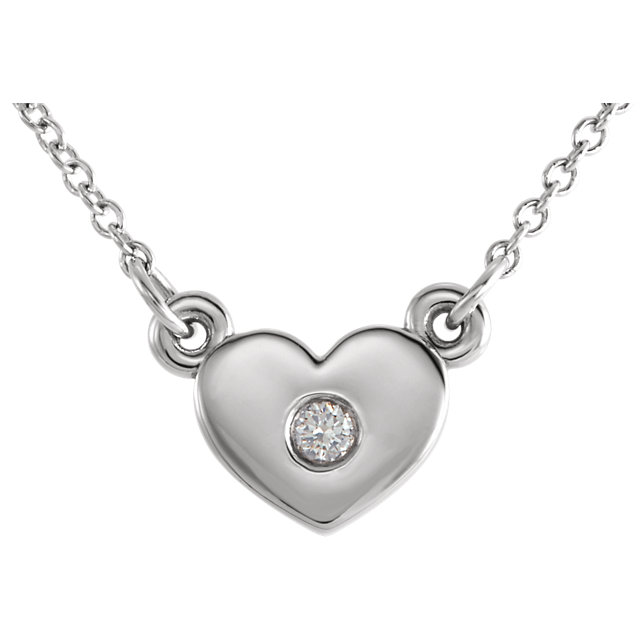 14 Karat White Gold .03 Carat Diamond Heart 16