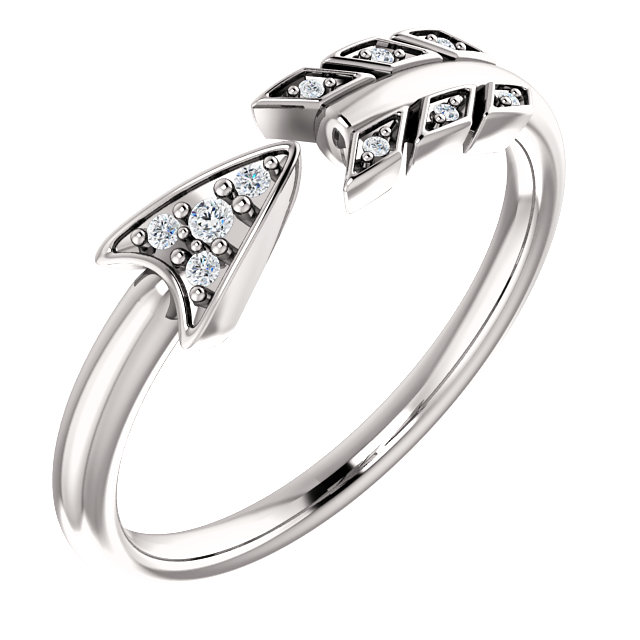 Contemporary 14 Karat White Gold .04 Carat Total Weight Diamond Arrow Ring
