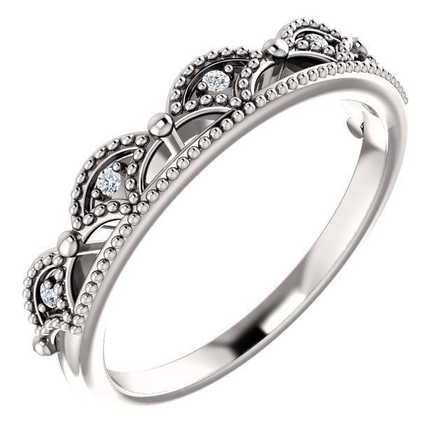 Buy Real 14 KT White Gold .04 Carat TW Diamond Crown Ring