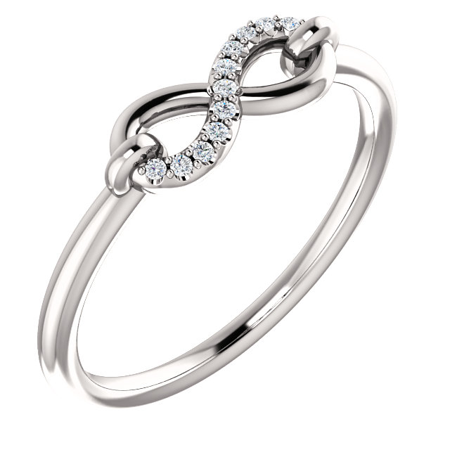 Surprise Her with  14 Karat White Gold .04 Carat Total Weight Diamond Infinity-Inspired Ring