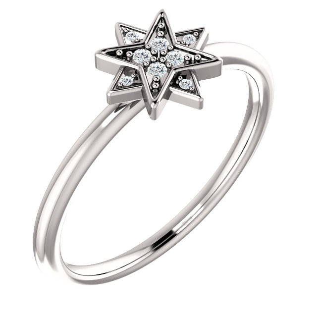 Perfect Gift Idea in 14 Karat White Gold .04 Carat Total Weight Diamond Star Ring