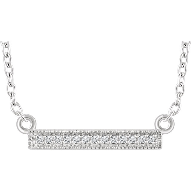 Buy 14 Karat White Gold .05 Carat Diamond Bar 16-18